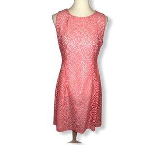 Eva Mendes Coral Pink Sleeveless Lace Dress Sz 12